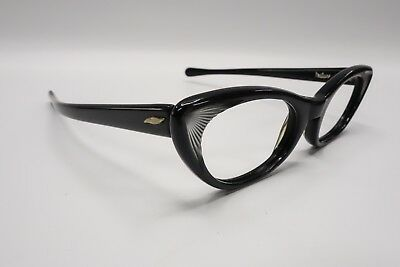 Vintage Small MARINE Feature1950/60s Cat Eye Rx Eyeglasses Frame Black Gray 8410