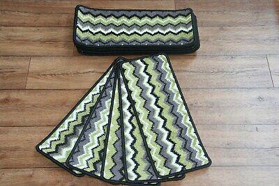 Läufer Pads (14 Zigzag Hard Wearing Carpet Stair Case Treads Zig Zag Green Stair Pads)