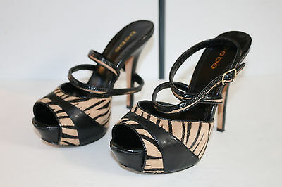BEBE Paige Black Cream Animal Print Ankle Strap Fashion High Heels