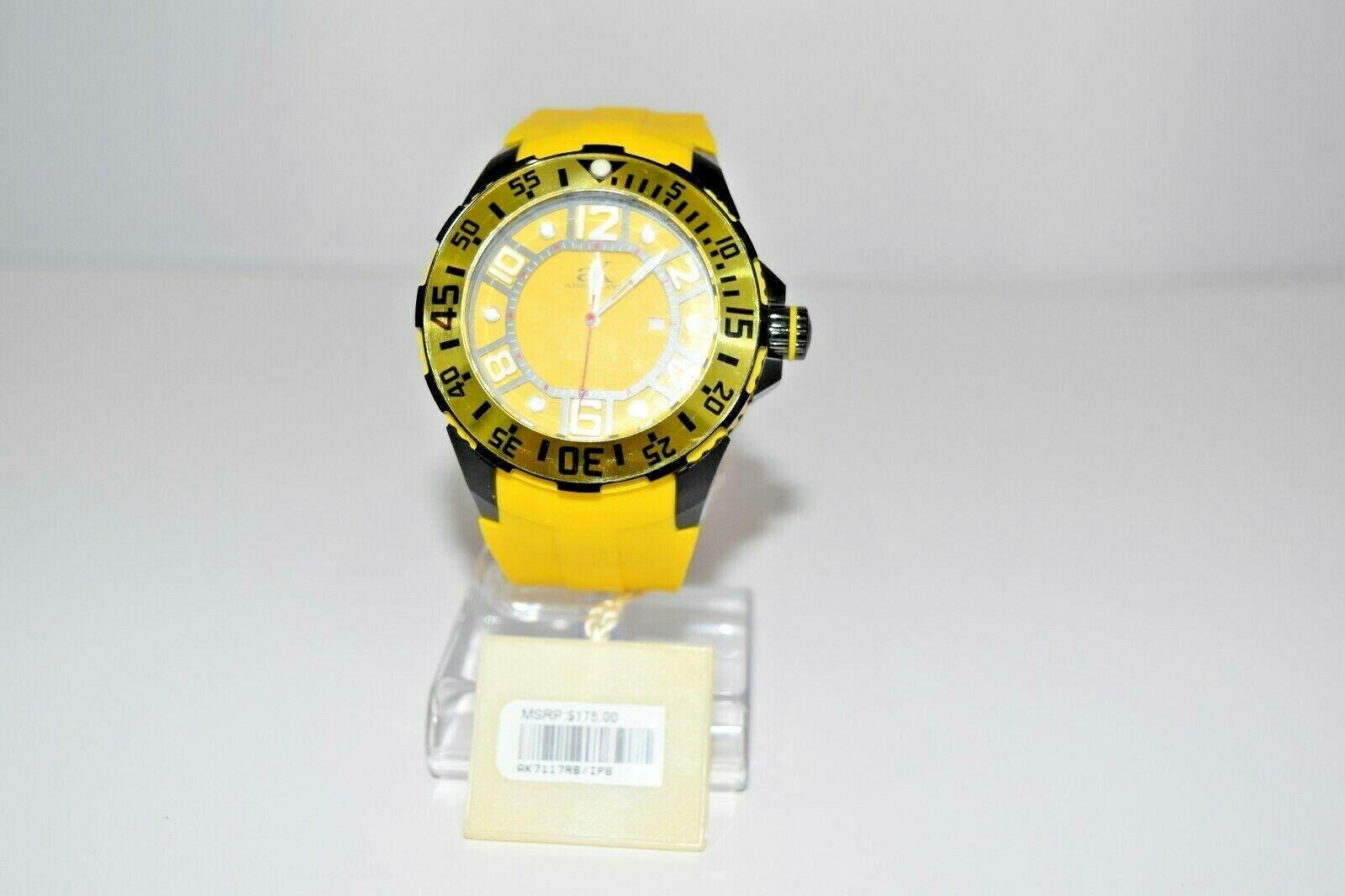 aK Adee Kaye Men`s Rubber SS Oversized AK7117RB Watch Yellow