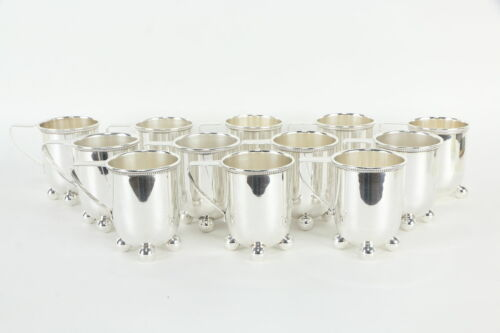 Set of 11+1 Silverplate Antique Julep or Mulled Wine Cups, Signed OFD #36152