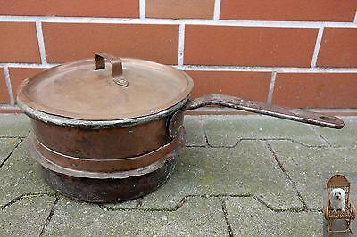 Kupfer Kasserolle 3 Ltr. Topf mit Eisenstiel Deckel Aufsatzring Stieltopf