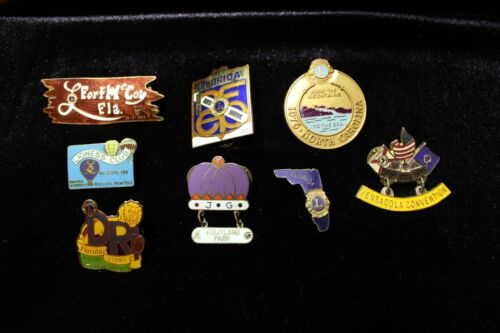 Vintage Lions Club Pins States and Cities Florida North Carolina New York