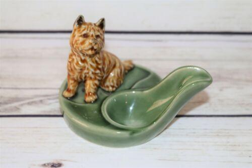 Vintage Wade England Porcelain Figurine Brown Terrier Dog Spoon Pipe Holder