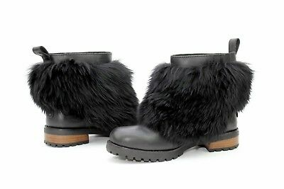 Ugg Otelia Water Resistant Leather Sheepskin Black Fluffy Boots Size 10 US](Fluffy Boots)