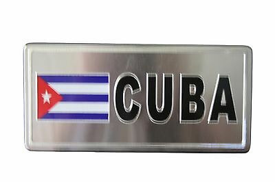 CUBA COUNTRY FLAG-SILVER LICENSED STICKER FLAG PLATE..SIZE: 6 X 3 INCH