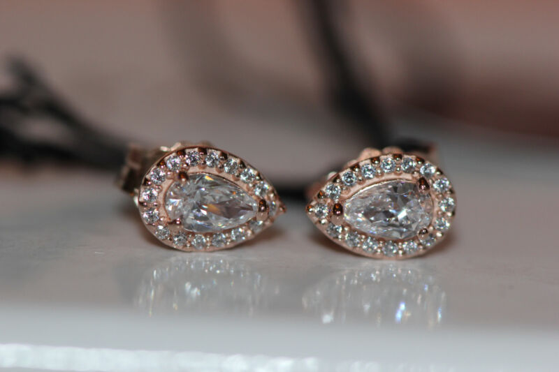 86af44793 AUTHENTIC NEW PANDORA ROSE™ LUMINOUS ICE EARRINGS 287567CZ w/ hinged box  and tag