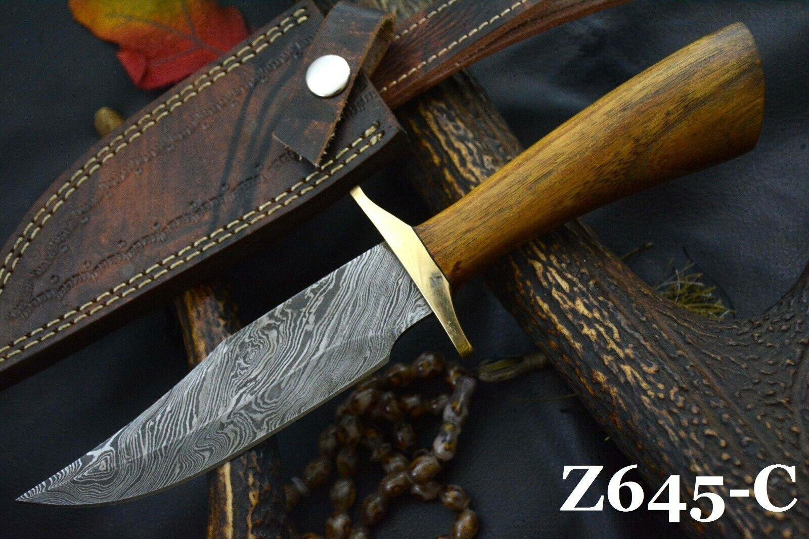 Custom Damascus Steel Hunting Knife Handmade With Walnut Handle Z645-C  - $19.99