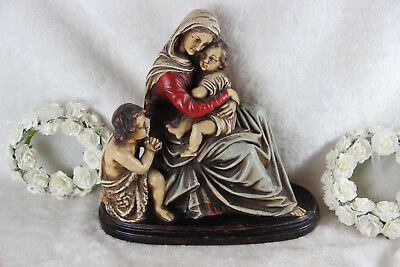 Antique French Religious chalkware polychrome statue madonna jesus john baptist