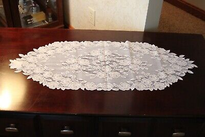 """Heritage Lace Tea Rose TR-1436W 14"""" x 36"""" WHITE Table Runner Doilie NEW"""