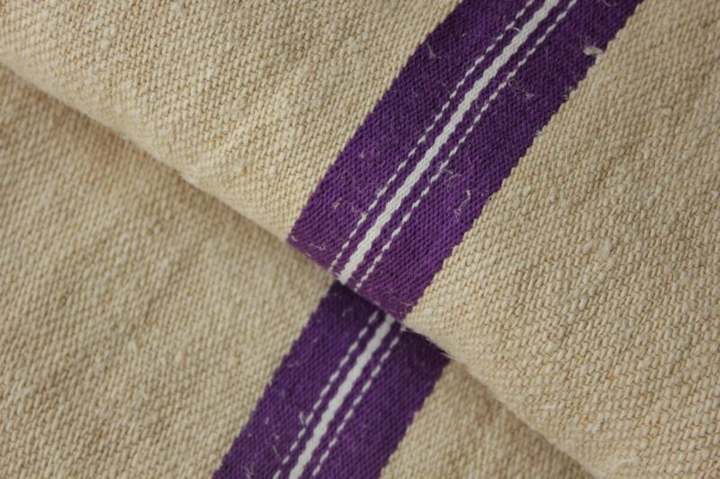 GRAIN SACK PURPLE Stripes grainsack linen fabric bag hand woven circa 1930
