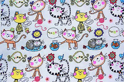 Ткань Cute Cats Gray Kawaii Cat