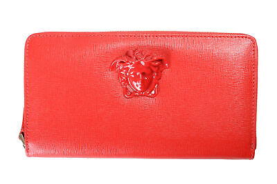 Versace Women's 100% Saffiano Leather Red Medusa Embellished Zip Around Wallet