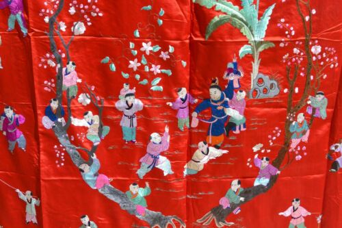 Old Chinese Silk Embroidery 100 Children Figure Panel Tapestry Textile 226x145CM