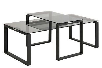Glas Metall-beistelltisch (2-Satz Couchtisch Katrine 18915 Glas Metall Stubentisch Tisch Beistelltisch )