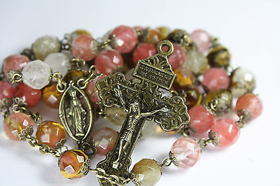 10mm Watermelon Quartz Glass and Bronze Bead Rosary Made in Oklahoma Catholic on Rummage