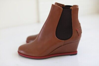 NEW FENDI Cathy Wedge Brown Leather Ankle Slip-on  Boots Booties sz 37 / 7