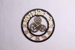Industrial Wall Clock Handmade 3D Gear Retro Decorative Hanging Decor Wood Art