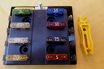 1BUSS TERMINAL BLOCK WITH 8 ATC US MADE FUSES+FUSE PULLER,CHOOSE YOUR FUSE AMP #