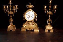 ANTIQUE GILT BRONZE FRENCH CLOCK SET, GARNITURE, ca 1890