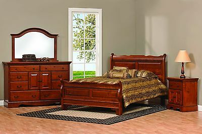 Amish Sleigh Raised Panel Bedroom Set Solid Wood Furniture King Queen (Merlot Queen Sleigh Bed)