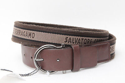 Authentic Salvatore Ferragamo Brown Canvas Leather Logo Gancini Belt Sz 38