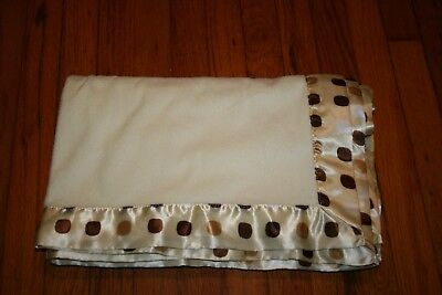 Beansprout cream baby blanket poka dots on satin cream brown