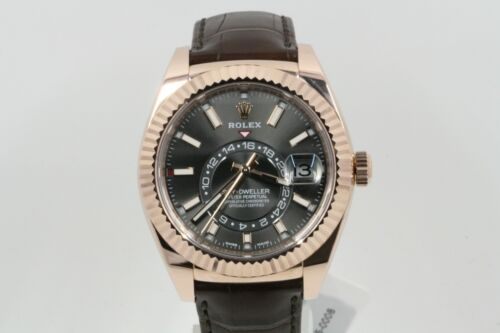 Rolex 42mm Sky-dweller 326135 Rose Gold With Leather Strap Rhodium Dial -unused-