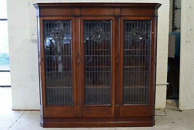 Antique Art Nouveau / Aesthetic Movement Mahogany Leaded Glass Door Bookcase  Art Nouveau Door Furniture