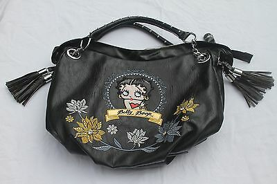 New NWT Betty Boop Large Black Leather Handbag with Embroidery and Rhinestones