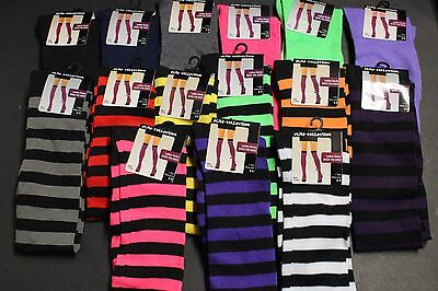 LADIES OVER THE KNEE HIGH SOCKS SIZE 9-11 FIT SHOE 5-9 BLACK GR BLUE PK PURPLE