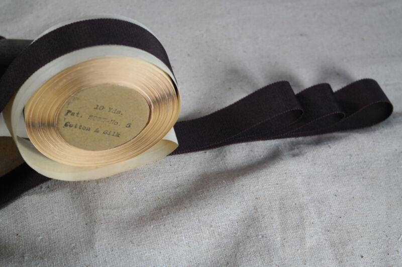 """10 yard  spool 7/8"""" vintage silk Cotton brown petersham grosgrain ribbon hat"""