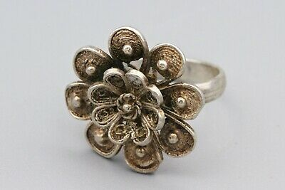 1940s Jewelry Styles and History Sterling Filigree Flower Ring Sz 4, Silver Floral Cannetille Art Deco Look Ring $33.00 AT vintagedancer.com