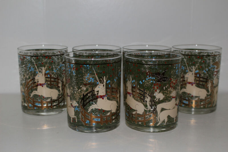 """6 CERA """"UNICORN IN CAPTIVITY/ENCHANTED FOREST"""" DOUBLE OLD FASHIONED GLASSES"""