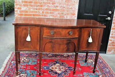 English Edwardian Antique Flamed Mahogany Sideboard 2 Drawer 2 Door Cabinet for sale  Spring