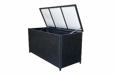 Pool Deck Box Patio Outdoor Resin Wicker Storage Chest Trunk Furniture 0030