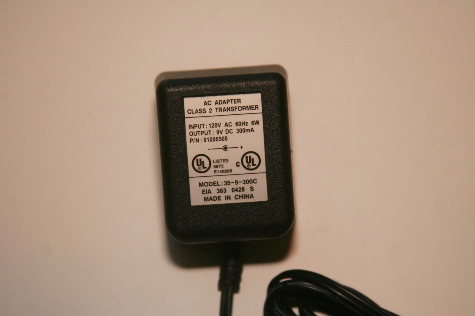 35-9-300C Power Supply Adapter Charger 01006500 Class 2 Transformer 9V DC 300mA