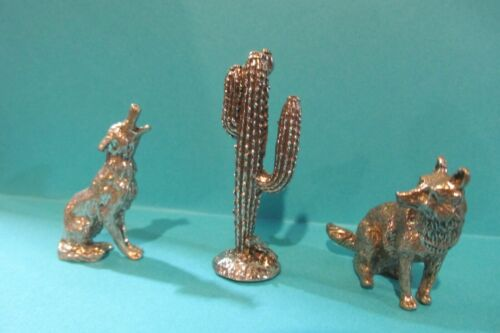 Pewter  Coyotes And Cactus Figurines