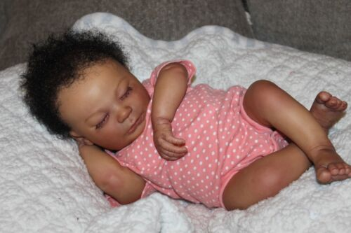 Reborn baby doll African American newborn baby girl Jeselle with 3d skin OOAK