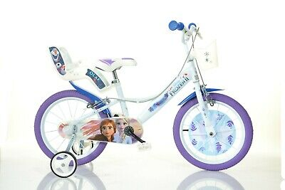 "Disney Frozen 2 Film Kids Girls Bike 16"" Wheel Bicycle Stabilisers 1 Speed White"