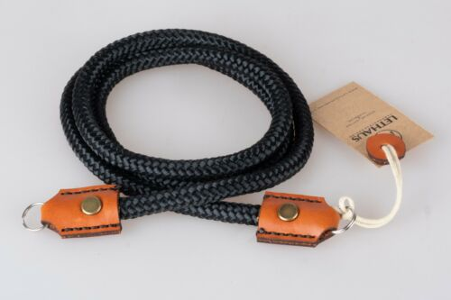 LETHAUS - ROPE CAMERA STRAP WITH LEATHER CONNECTOR - (BLACK / CONIAC)