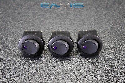 3 Pcs Round Rocker Switch 34 Hole 16 Amp 12v 3 Pin Purple Led Toggle Ibrrsp