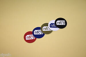 5 Colour NFC Tags Stickers 30mm Round : NXP NTAG203 : All Mobiles & Tablets