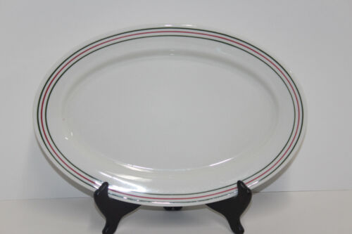 "Iroquois China Restaurant Ware Green Red Stripes Syracuse; 13"" Platter"