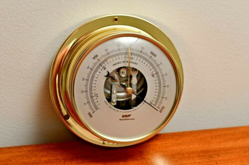 "Weathertronics Model 7333 Brass Precision Wall Mount 5"" Dial Barometer Japan"