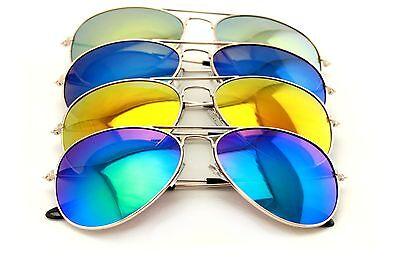 4 Paar Gold Aviator Sonnenbrille mit Bunt Spiegel Getönt Uv400 - Massengut Wert