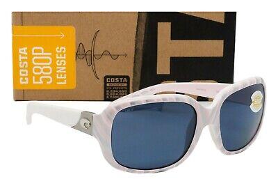 NEW COSTA DEL MAR GANNET Sunglasses Matte Seashell frame / Grey 580P lens (Costa Del Mar Sunglasses For Women)