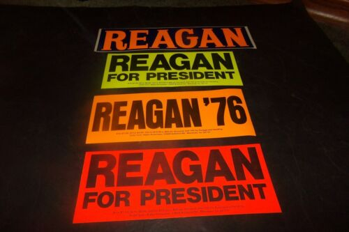 Lot 4 Ronald Reagan for President Bumper Stickers Tried Primary Gerald Ford 1976