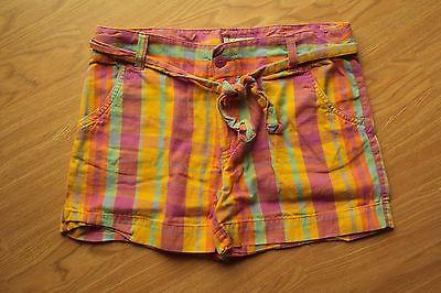 Cherokee Cotton Belt (Girls Cherokee Cotton Purple Yellow Orange Plaid Chino Shorts Tie Belt XL 14-16)