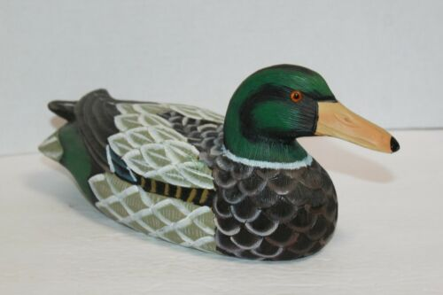 Vintage Hand Painted Wooden Mallard Duck Decoy (E)